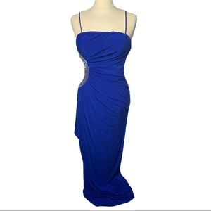 Cache Blue Long Gown Side Cut Formal Gown